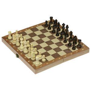 Jeu d'échecs dans une boîte en bois pliable