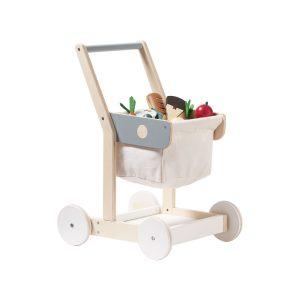 Chariot de courses en bois et coton
